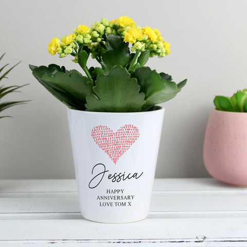 Personalised Heart Plant Pot - Hello Chestnut
