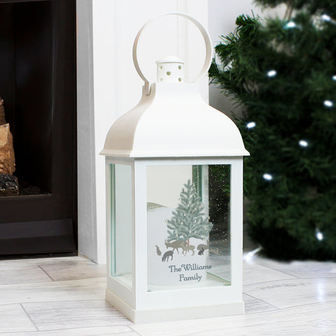Personalised A Winters Night White Lantern - Hello Chestnut