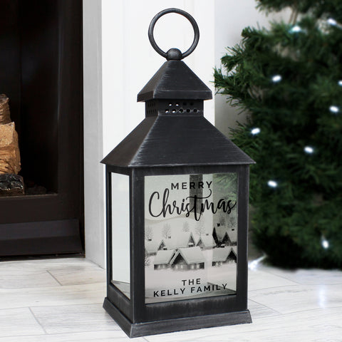 Personalised Christmas Town Rustic Black Lantern - Hello Chestnut