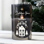 Personalised Christmas Smoked Glass LED Candle - Hello Chestnut