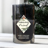 Personalised Geometric Smoked Glass LED Candle - Hello Chestnut