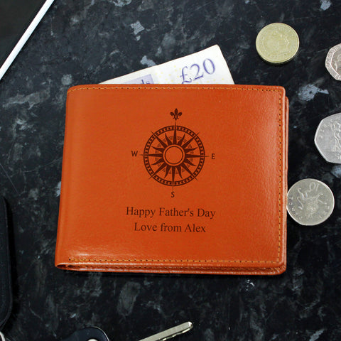 Personalised Compass Tan Leather Wallet - Hello Chestnut