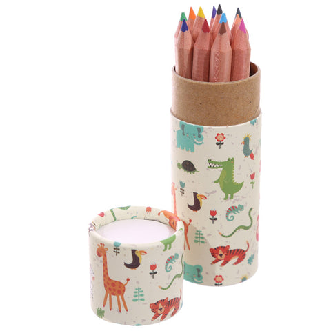 Zoo Animals Colouring Pencils Tube - Hello Chestnut