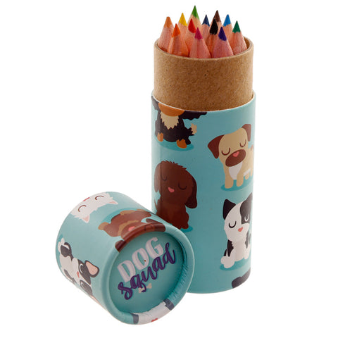 Dog Squad Colouring Pencils Tube - Hello Chestnut