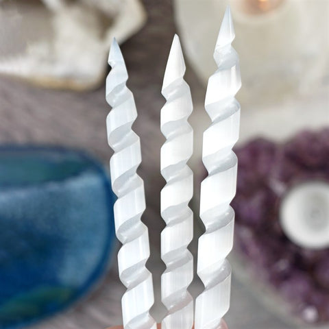 Spiral Double Pointed Selenite Wand - Hello Chestnut