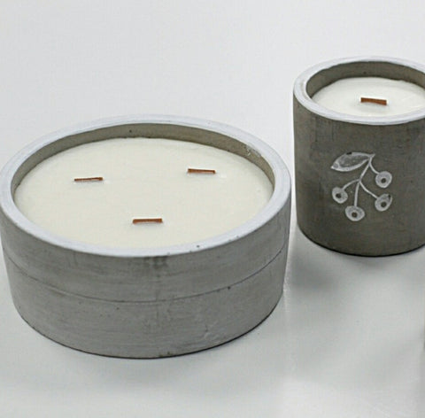 Crushed Vanilla & Orange Triple Wooden Wick Concrete Candle - Hello Chestnut