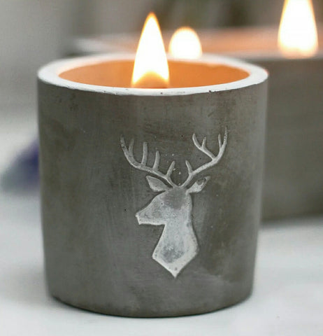 Whiskey & Woodsmoke Wooden Wick Stag Concrete Candle - Hello Chestnut