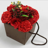 Red Rose & Carnation Flower Soap Bouquet - Hello Chestnut