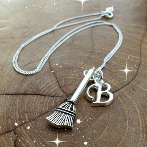 Personalised Initials Witches Broom Necklace - Hello Chestnut