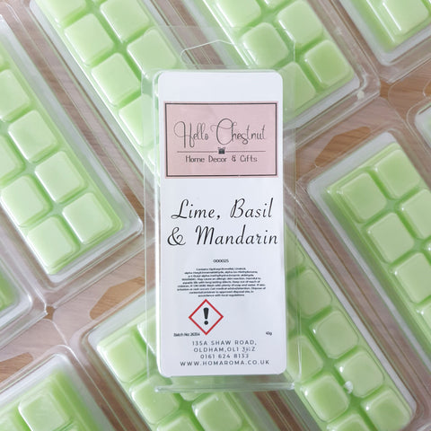 Lime Basil & Mandarin Wax Melt Bar - Hello Chestnut
