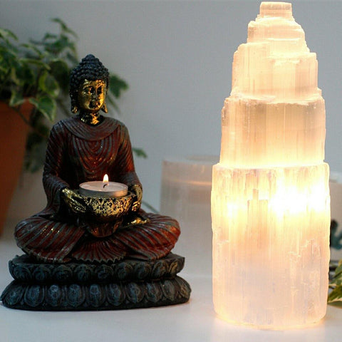 25cm Natural Selenite Tower Lamp - Hello Chestnut