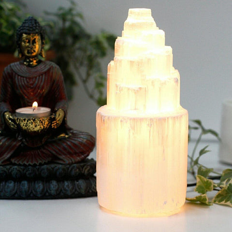20cm Natural Selenite Tower Lamp - Hello Chestnut