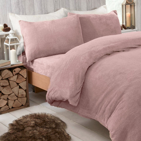 Blush Pink Teddy Fleece Duvet Set - Hello Chestnut