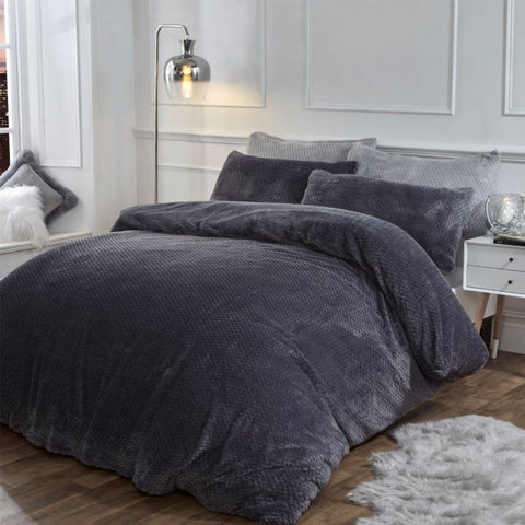 Charcoal Grey Waffle Teddy Fleece Duvet Set - Hello Chestnut