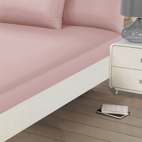 Blush Pink Plain Fitted Bed Sheet - Hello Chestnut