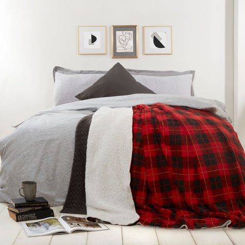 Red Tartan Sherpa Flannel Fleece Blanket - Hello Chestnut