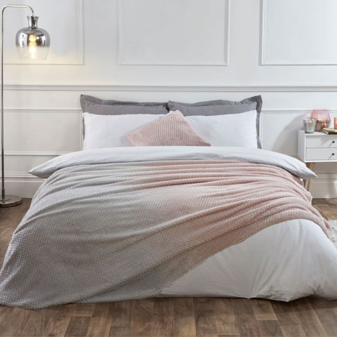 Blush Pink & Grey Ombre Waffle Throw - Hello Chestnut