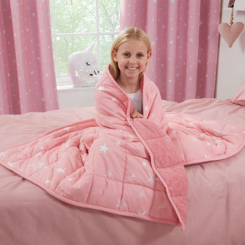 Kids Blush Pink Star Teddy Fleece Weighted Blanket 3kg - Hello Chestnut