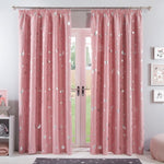 Blush Pink Galaxy Star Blackout Pencil Pleat Curtains - Hello Chestnut