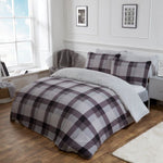 Grey Check Teddy Fleece Duvet Set - Hello Chestnut
