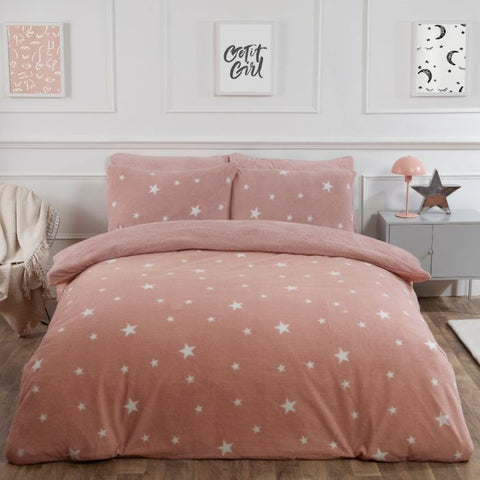 Blush Pink Star Teddy Fleece Duvet Set - Hello Chestnut