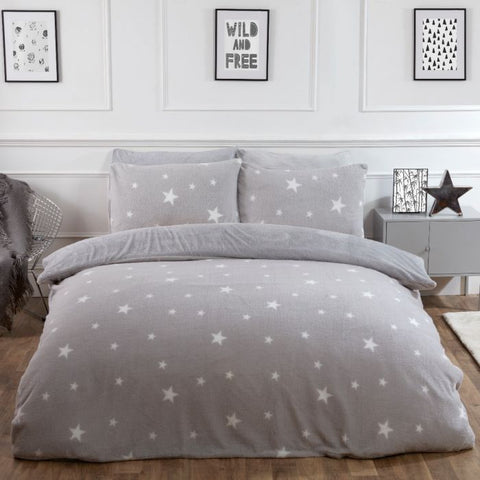 Grey Star Teddy Fleece Duvet Set - Hello Chestnut