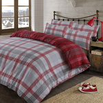 Red Premium Tartan Check Brushed Cotton Duvet Set - Hello Chestnut