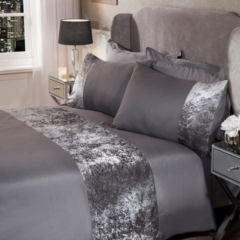 Crushed Velvet Band Duvet Set - Silver Grey - Hello Chestnut