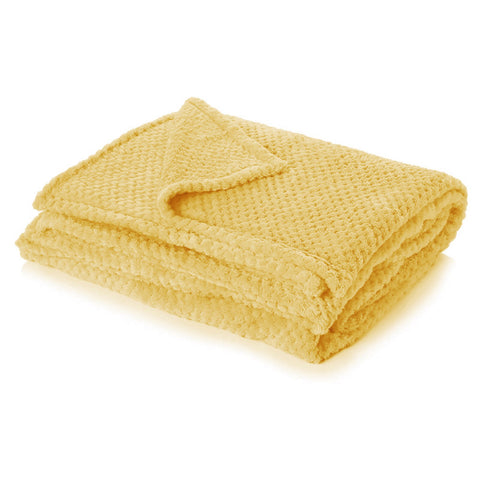 Ochre Yellow Luxury Waffle Throw - Hello Chestnut