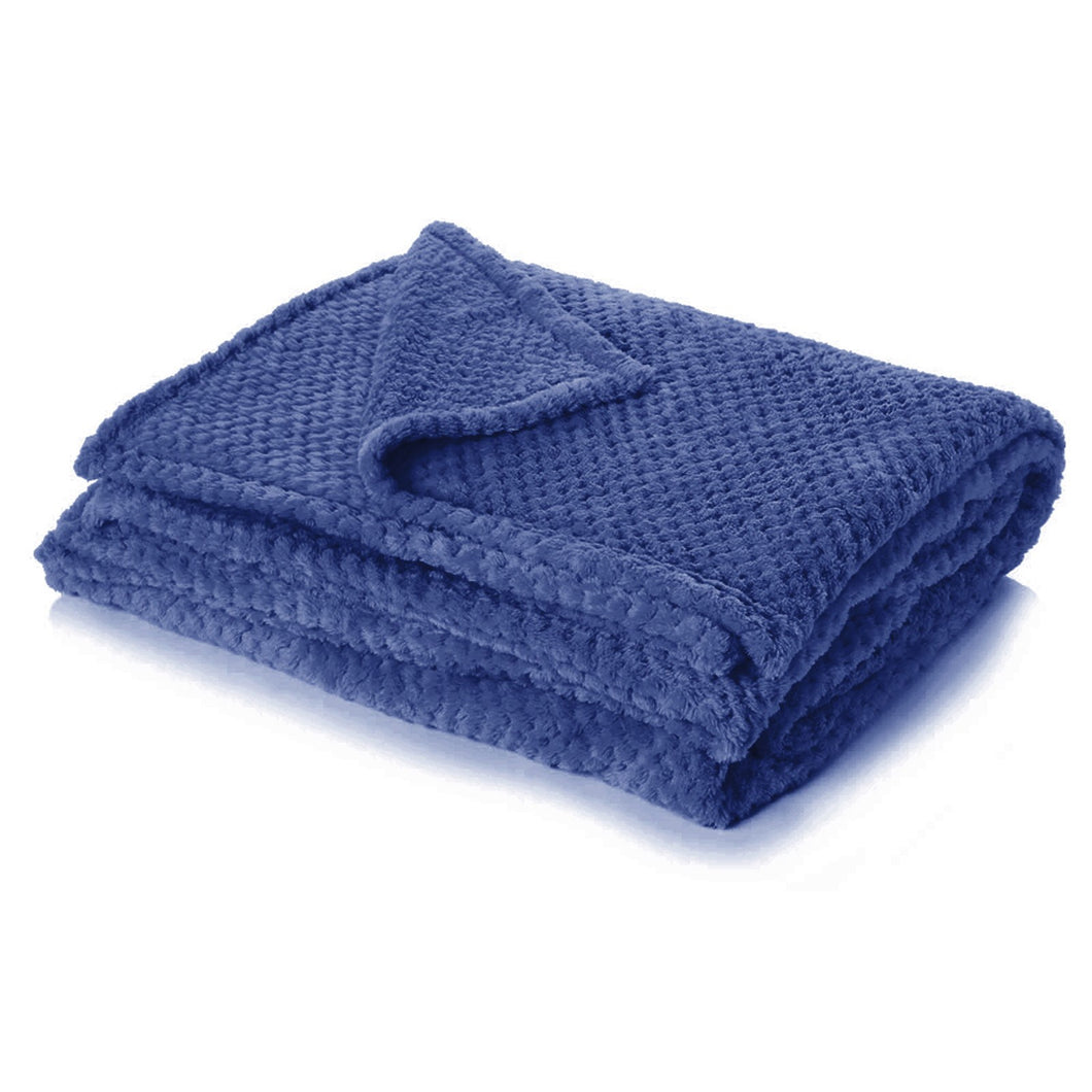 Luxury Waffle Throw - Navy