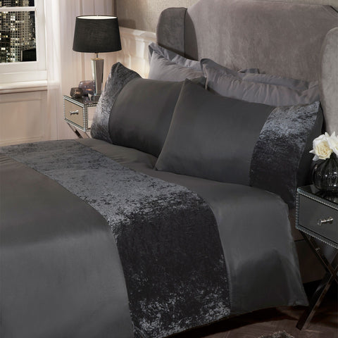 Charcoal Grey Crushed Velvet Band Duvet Set - Hello Chestnut