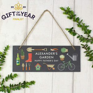 Personalised Garden Printed Hanging Slate Plaque
