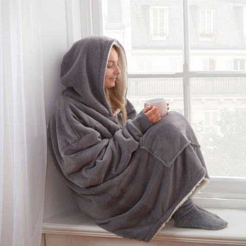 Charcoal Grey Super Soft Hoodie Blanket - Hello Chestnut
