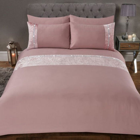 Blush Pink Diamante Crushed Velvet Duvet Set - Hello Chestnut