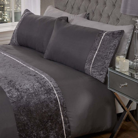 Charcoal Grey Diamante Crushed Velvet Duvet Set - Hello Chestnut