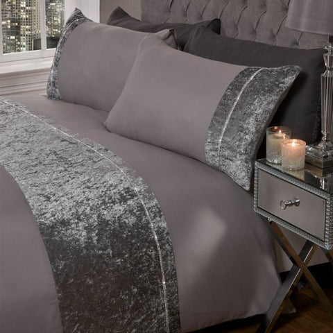 Silver Grey Diamante Crushed Velvet Duvet Set - Hello Chestnut