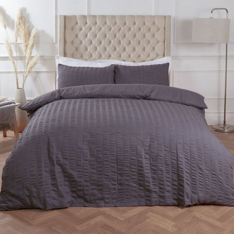 Charcoal Grey Seersucker Duvet Set - Hello Chestnut