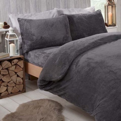 Charcoal Grey Teddy Fleece Duvet Set - Hello Chestnut