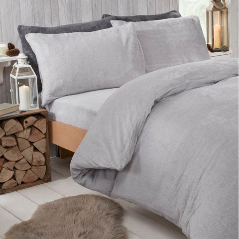Silver Grey Teddy Fleece Duvet Set - Hello Chestnut