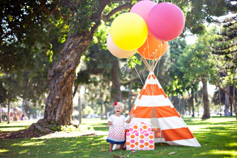 first birthday party teepee giant balloons