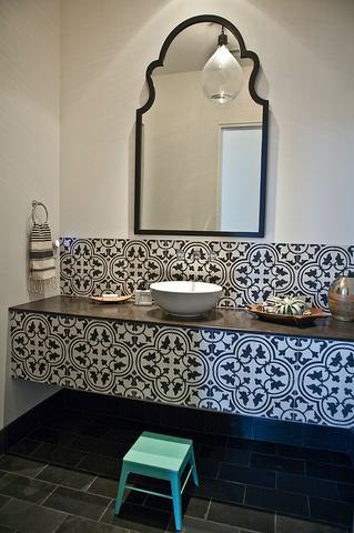 Posted in bathroom  black and white  cement tile  mirror  powder room  step stool  tile  turkish towel  turqoise  vanity  white vessel sink. Graphic Tiled Bathroom   Bungalow 56 Living