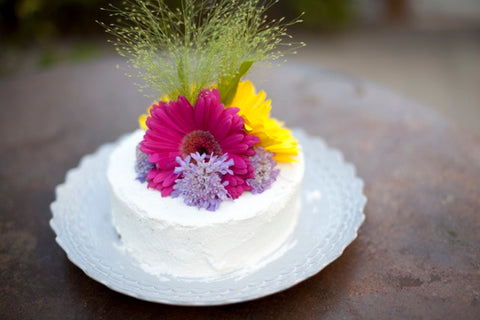 vanilla cake with flower topper