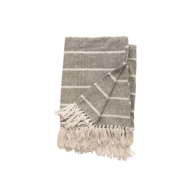 Cotton Stripe Throw Grey - Bungalow 56