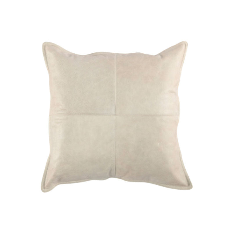 Cream Leather Pillow - Bungalow 56