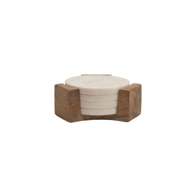 Marble Coaster with Wood Holder - Bungalow 56