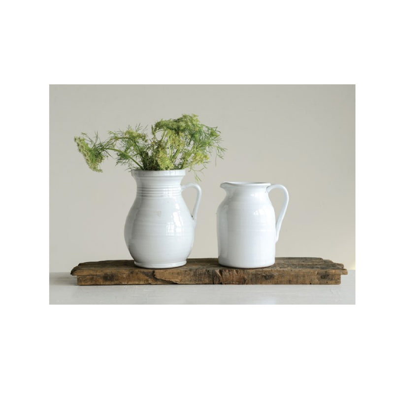 White Terra Cotta Pitcher - Bungalow 56 Living