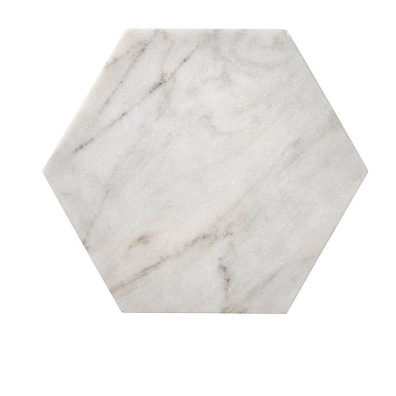 WHITE MARBLE HEXAGON BOARD - Bungalow 56 Living
