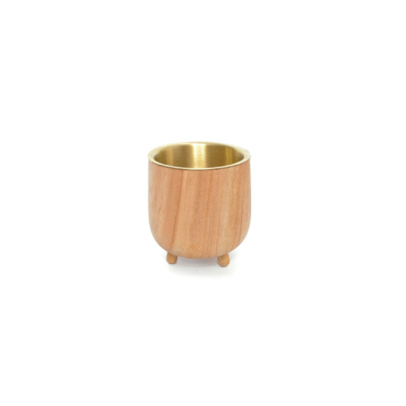 TEAKWOOD + BRASS CACHEPOT - Bungalow 56 Living
