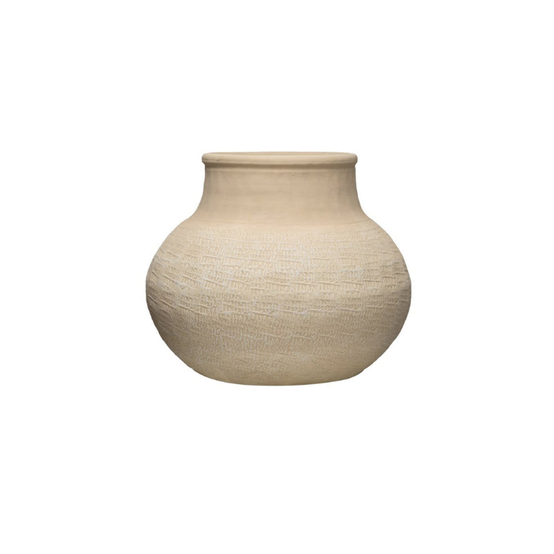 White Textured Terra Cotta Vase - Bungalow 56