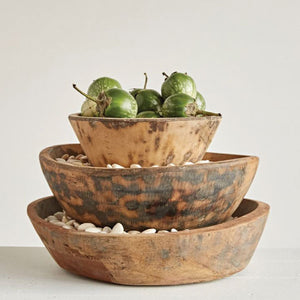 ROUND WOOD HAND-CARVED BOWLS - Bungalow 56 Living